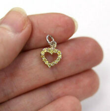 0.3 ctw Natural Yellow Sapphire Solid 14k White Gold Tiny Heart Shape Charm 14MM