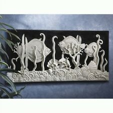 3 Fish w shell s statue Aquarium in Black and White Wall Frieze Relief B
