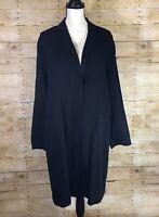 EILEEN FISHER Black Corded Tencel Notch Collar Long Jacket Medium NWT