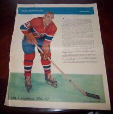 Lou Fontinato La Patrie Du Dimanche photo Montreal Canadians 1961-62