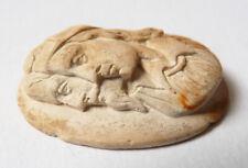 2 profils d'homme camée sur pierre de lave femme Bijou ancien 19e siècle cameo