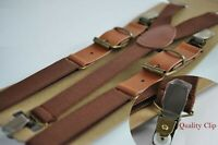 Brown Elastic Tan Brown Faux Leather Suspenders Braces For all ages