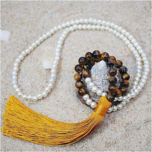 Round 6mm White Shell Pearl & 8mm Yellow Tiger's Eye Gems Beads Tassel Necklace