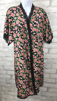 Vintage Lily of France Sleep Wear Short Satin Robe Roses Floral Lace Trim M