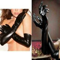 Sexy Women Wet Look Patent Leather Gloves Opera Prom Elbow New