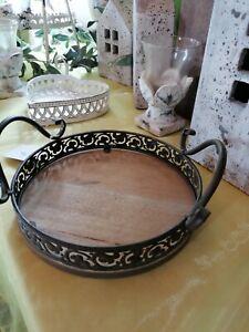Tablett mit Griff Holz Metall 26 cm rund antik braun Schale Vintage Shabby