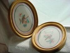 Vtg 1983 Homco Bird Picture 2 Pictures Goldtone Oval Frames
