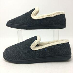 Dearfoams Slippers Slip On Shoes Womens 7-8 Medium Dark Grey Wool Faux Fur Lined