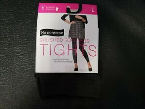 No nonsense Brushed Footless Fleece Tights Cobblestone Color Size Large New