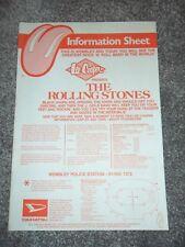 THE ROLLING STONES - ORIGINAL Information Sheet - WEMBLEY STADIUM - June 25 1982