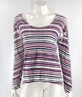 Michael Stars Top One Size Striped White Navy Blue Pink Long Sleeve Shirt Womens