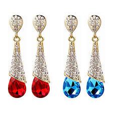 Non-Pierced Fashionable Diamanté Crystal Drop Dangle Clip On Earrings A360