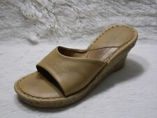 Born Drilles Wedge Sandals Womens Size 7/38 W8064 Summer Tan Leather FREE S&H