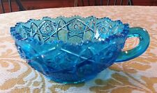 Blue Pressed Glass Bowl Candle Holder Sawtooth Edge Hobstar - Imperial or Kemple