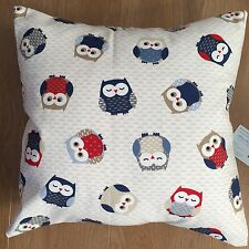 """Fryetts Fabric Blue & Red Owl owls Birds Scatter Cushion Cover 16"""""""