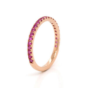 Genuine Size L 1/2 14K 14ct Rose Gold Pink Sapphire Eternity Ring band