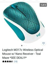 Logitech M317c Wireless Optical Mouse w/ Nano Receiver - Teal Maze *SEE DEAL!!!*