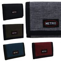 Metro Mens Boys Canvas Tri-Fold Cash & Card Wallet