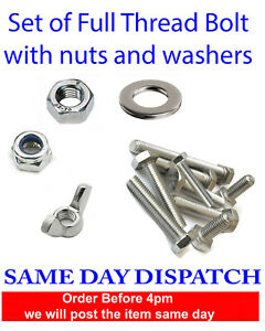 Nuts and Bolts Set Screws Full Thread and Washers Stainless Steel M4 M5 M6 M8