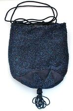 Vintage Drawstring Handbag Hand Beaded Bag Blue Glass Beads Reticule Purse