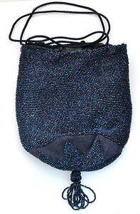 Vintage Drawstring Handbag Hand Beaded Purse Bag Blue Glass Beads Reticule
