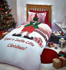 Lutin Noël Toit Vert Rouge Blanc Housse Couette Simple