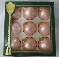 The Victoria Collection Satin Peach Vintage Mercury Style Ball Ornaments IOB GUC