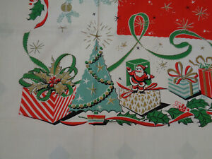 """VTG Christmas Tablecloth Mid Century Mint + ML Tag Awesome Graphics 80x60"""" #2"""