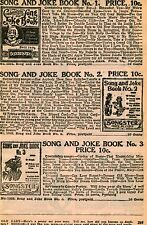 1929 small Print Ad of Songster Song and Joke Book No. 1 2 & 3 comic poetry