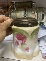 Stunning RARE  R S Prussia Biscuit Jar with Silverplated Lid and Bail Handle!!!!