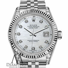 Rolex 26mm Datejust 18K White Gold & SS White Mother Of Pearl Diamond Dial