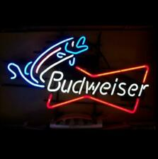 "New Budweiser Bowtie Fishing Beer Bar Neon Light Sign 24""x20"""