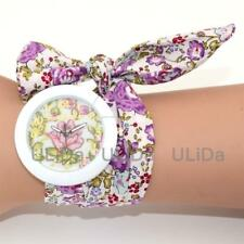 Women Fashion Flowers Watches Floral Ribbon Strap Crystal Ladies Quartz Lady