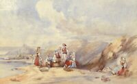 Fisherfolk, St Michael's Mount, Cornwall – 19th-century watercolour painting