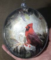 """Gorgeous Large 5"""" Glass And Foil Backed Cardinal w/ Berries Christmas Ornament"""