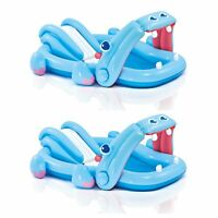 Intex Inflatable Hippo Play Center Kids Pool with Slide and Sprayer (2 Pack)
