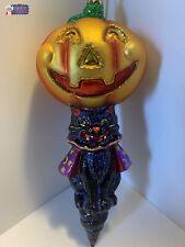 Christopher Radko Ornament Halloween Cat with Pumpkin.1015059, 6'tall