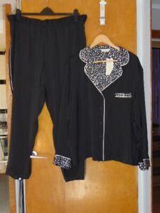 M&S Classic Satin Pyjamas 2 Part Set Full Length Cling Resist 20 Black Mix BNWT