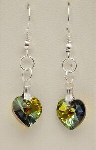 Swarovski Heart-shaped Crystal Dangle Earrings - Handmade - Silver Plated 10mm