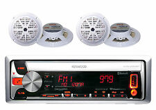 Marine Boat Yacht AM/FM CD USB MP3 Pandora Bluetooth Stereo w/4 White Speakers