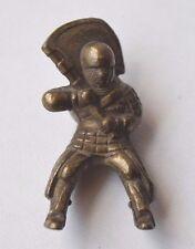 Vintage Collectible Kinder Ferrero Egg Metal Hun Warrior with Flag Figurine