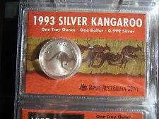 1993 KANGAROO  CARDED  1OZ SILVER  COIN