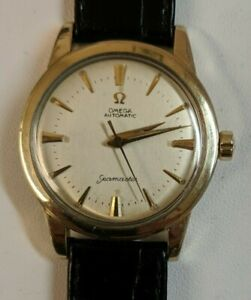 VINTAGE GENTS OMEGA SEAMASTER AUTOMATIC 14K GOLD FILLED WRIST WATCH  - RUNS