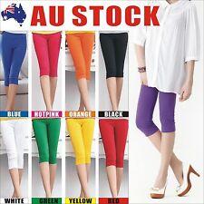 Womens 3/4 Length Soft Strentch Leggings S-XXL Au Size 8-20 Lady Black/White/Red