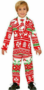 ★ Weichnacht Santa Kostüm, Anzug 110-152 Rot Weichnachtskostüm Kinder Sakko Suit