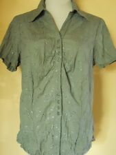 Boninsen Olive Green Short Sleeve Button Cotton Blend Blouse Shirt Sz XL MINT