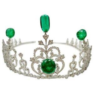 Green Cabochon & White Diamond Vintage Style Handmade Tiara converts Necklace