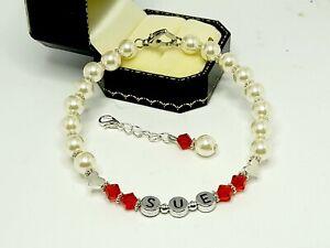 Luxury Personalised Bracelet Made with Swarovski Pearls and crystal
