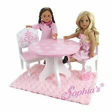 """Sophia's PINK & WHITE HAND PAINTED TABLE & 2 CHAIRS for 18"""" Dolls American Girl"""