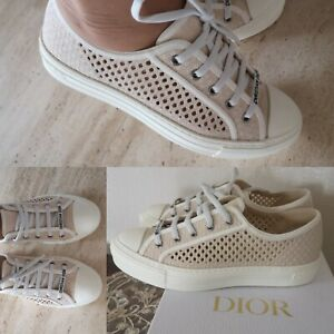 Christian Dior Walk'N'Dior Sneakers Dior Cream Mesh Embroidery Shoes EU 39 -US 9